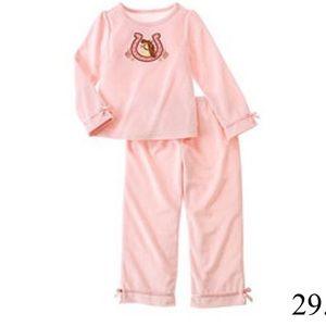 Gymboree Pink Fleece Horse 2 Piece Pajamas Size 7
